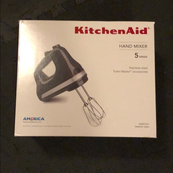 Never used KitchenAid hand mixer 5speed color gray